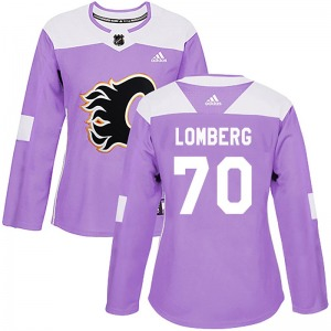 Women's Ryan Lomberg Calgary Flames Adidas Authentic Purple Fights Cancer Practice Jersey